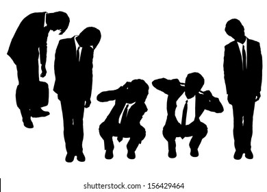 Silhouettes of business man looking depressed from work with white background