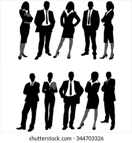 silhouettes of business men and women on white background vector