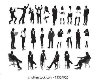 Silhouettes of business people.