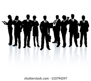 Silhouettes of business people forming a team.