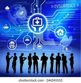 Silhouettes of Business People and Insurance Concept