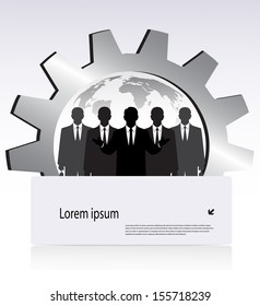 silhouettes of business people on the background of the gears with space for your text