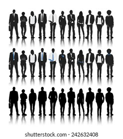 Silhouettes of Business People in a Row Vector