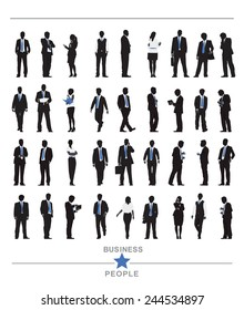 Silhouettes of Business People and Business People Texts