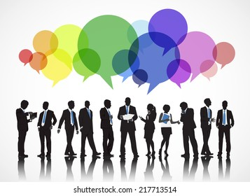 Silhouettes of Business People Working and Speech Bubble