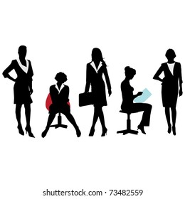 Silhouettes of Business Women.Vector