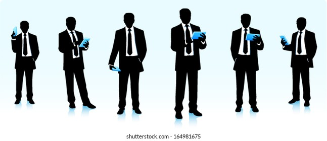 Silhouettes of businessmen with tablet computers