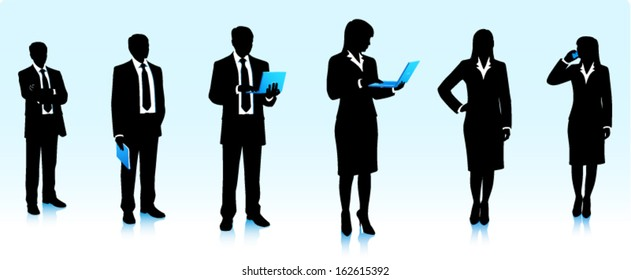 Silhouettes of businesswomen and businessmen