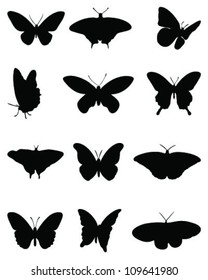 Silhouettes of butterflies =vector