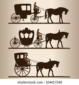 Silhouettes of the carriages. Silhouettes of horse-drawn carriages with riders. Two-wheeled and four-wheel carriage. Vector illustration.