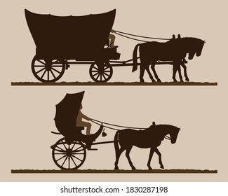 Silhouettes of the carriages.  Silhouettes of horse-drawn carriages with riders. Two-wheeled and four-wheel carriage. Wild west wagon silhouette. Vector illustration.