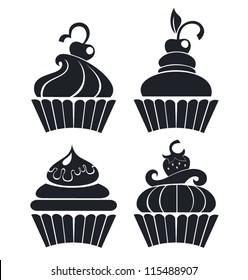 silhouettes of cartoon cupcakes