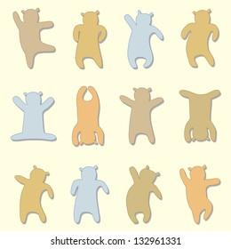 Silhouettes of cartoon dancing bear. Vector illustration.