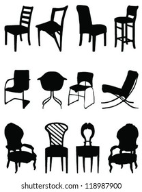 Silhouettes chairs 2-vector
