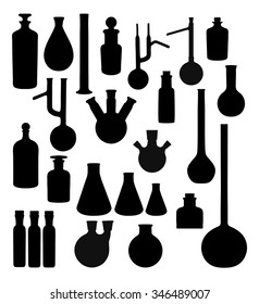 Silhouettes of chemical vessels - vector set