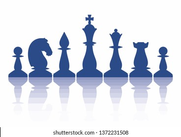 The silhouettes of chess pieces are arranged in a certain order with reflections. Vector illustration isolated on white.