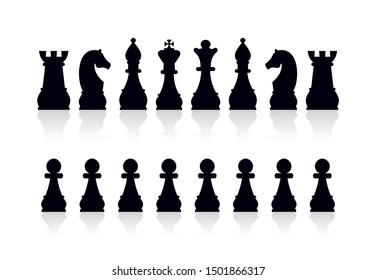 Silhouettes of chess pieces. Board game. Vector illustration isolated on white background