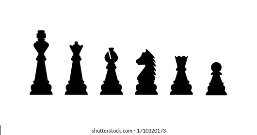 Silhouettes of chess pieces. Editable vector silhouettes standard chess pieces