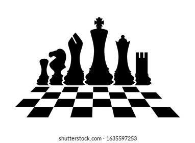 Silhouettes of chess pieces. Chess icons. King, Queen, rook, knight, Bishop, pawn. Vector chess isolated on white background. Black and white. Chessboard. Playing chess on the Board