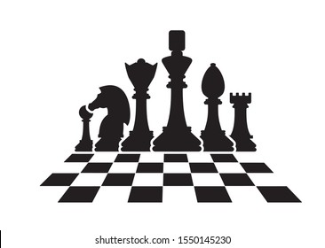 Silhouettes of chess pieces. Chess icons. Vector chess isolated on white background. Playing chess on the Board. King, Queen, rook, knight, Bishop, pawn
