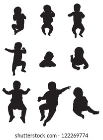 The silhouettes of the child 0-1 year, lies, drifts, flips, sits