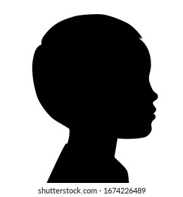 Silhouettes of child face. Outlines baby in profile. Vector illustration