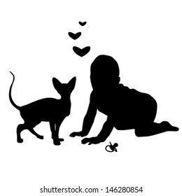 The silhouettes of the child playing with a  cat