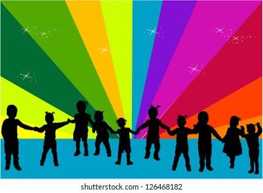 Silhouettes of children