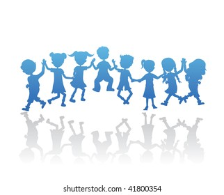 silhouettes children