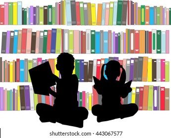 Silhouettes of children with books.