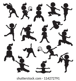 Silhouettes of children goes in for sports
