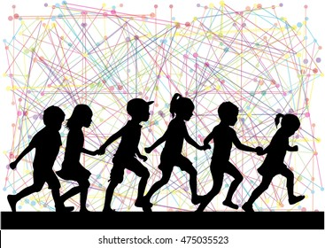 Silhouettes of children on the run. Abstrack background.