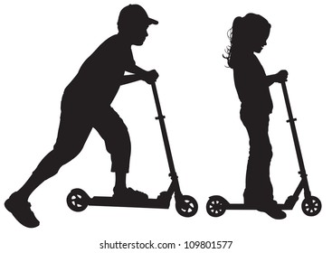 Silhouettes of children on scooter