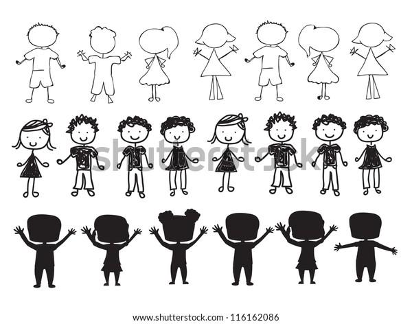 silhouettes of children over white background vector illustration