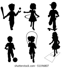 silhouettes children playing