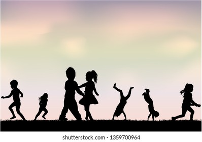 Silhouettes of children playing. Silhouettes conceptual.