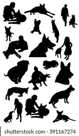 Silhouettes of children playing with dogs