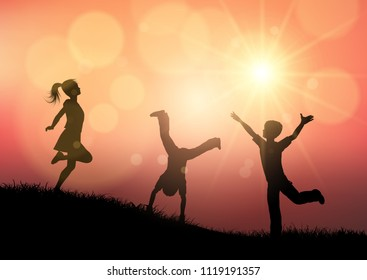 Silhouettes of children playing in a sunset landscape