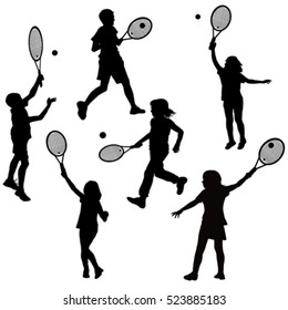 Silhouettes of children playing tennis
