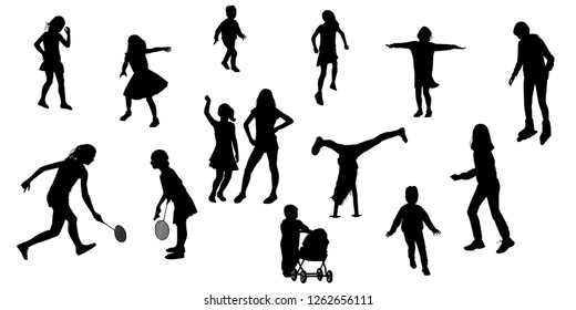 silhouettes of children in various poses. Children play, walk, run, rollerblading, playing tennis, jumping, vector. Set of illustrations of kids activity.