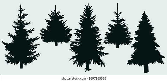 Silhouettes of Christmas trees. Christmas trees. Vector image for web design, websites, print, backgraunds.