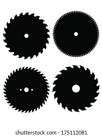 Silhouettes of circular saw blades, vector illustration