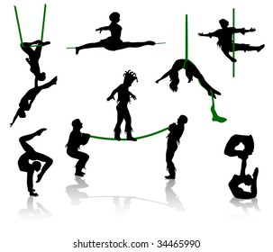 Silhouettes of circus performers. Acrobats and equilibrist.
