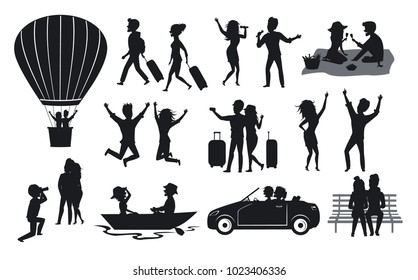 silhouettes collection of men and woman, couples traveling with suitcases, on hot air balloon ride, sing, dance, in the park on a bench, at picnic, on a roadtrip with car, rowing boat, take selfie