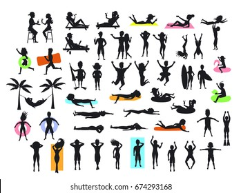 Silhouettes collection of people enjoying summer time beach holidays vacations. man, woman, couple sunbath, swim, floating, lying on inflatable rings and mattress, hammock, drinking cocktails