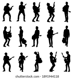 Silhouettes collection of rock musician male guitarist playing electric and acoustic guitar. Editable vector illustration.
