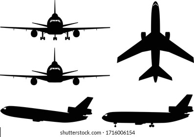 Silhouettes of a common type of jet aircraft used for civilian and military purposes.