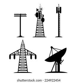 Silhouettes of communication constructions, telegraph pole, radio telescope