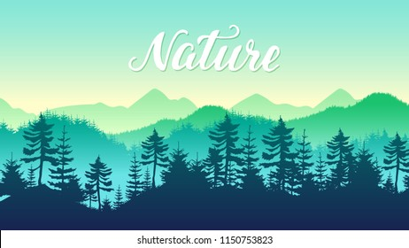 silhouettes coniferous Forest and Mountains Landscape Travel scenery background. Nature environment morning sunrise design