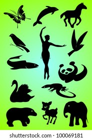 Silhouettes and contours of animals and person. Vector.